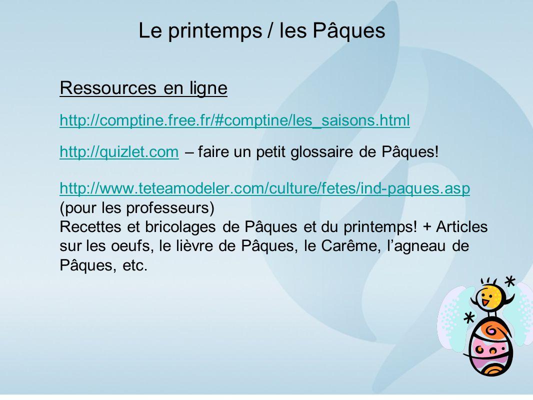 Le printemps / les Pâques Ressources en ligne http://comptine.free.fr/#comptine/les_saisons.html http://quizlet.comhttp://quizlet.com – faire un petit glossaire de Pâques.