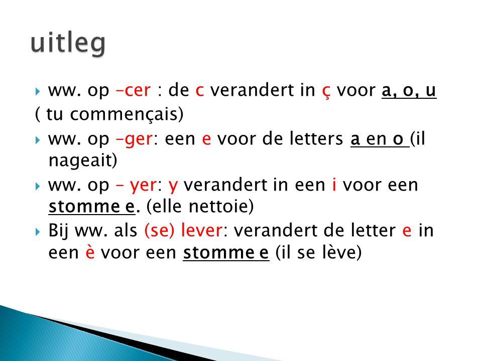  ww. op –cer : de c verandert in ç voor a, o, u ( tu commençais)  ww. op –ger: een e voor de letters a en o (il nageait)  ww. op – yer: y verandert