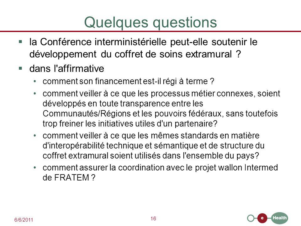 16 6/6/2011 Quelques questions  la Conférence interministérielle peut-elle soutenir le développement du coffret de soins extramural ?  dans l'affirm
