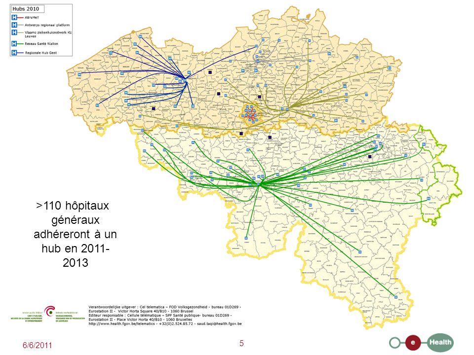 5 >110 hôpitaux généraux adhéreront à un hub en 2011- 2013 6/6/2011