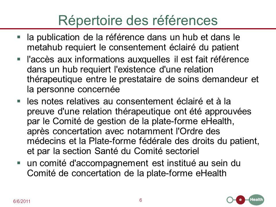6 Répertoire des références  la publication de la référence dans un hub et dans le metahub requiert le consentement éclairé du patient  l'accès aux