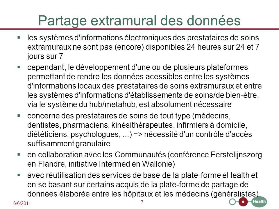 7 6/6/2011 Partage extramural des données  les systèmes d'informations électroniques des prestataires de soins extramuraux ne sont pas (encore) dispo