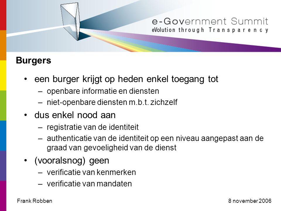 8 november 2006Frank Robben Burgers een burger krijgt op heden enkel toegang tot –openbare informatie en diensten –niet-openbare diensten m.b.t.