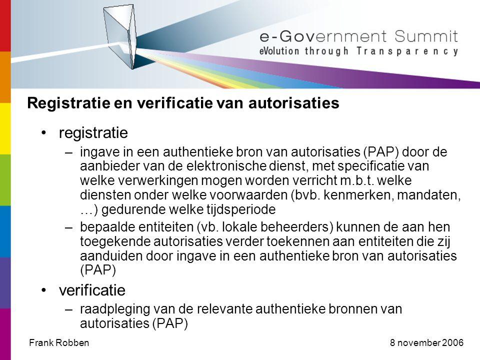 8 november 2006Frank Robben Registratie en verificatie van autorisaties registratie –ingave in een authentieke bron van autorisaties (PAP) door de aanbieder van de elektronische dienst, met specificatie van welke verwerkingen mogen worden verricht m.b.t.