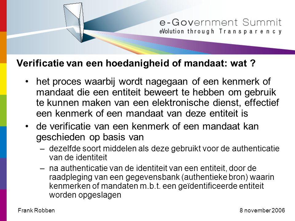 8 november 2006Frank Robben Verificatie van een hoedanigheid of mandaat: wat .