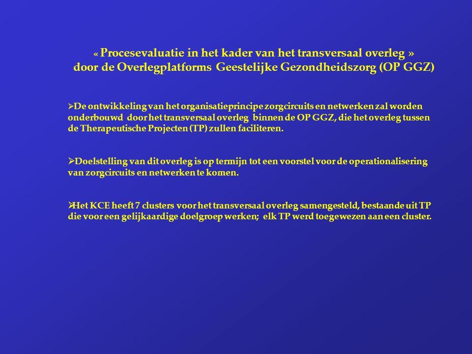 « Procesevaluatie in het kader van het transversaal overleg » door de Overlegplatforms Geestelijke Gezondheidszorg (OP GGZ)  De ontwikkeling van het