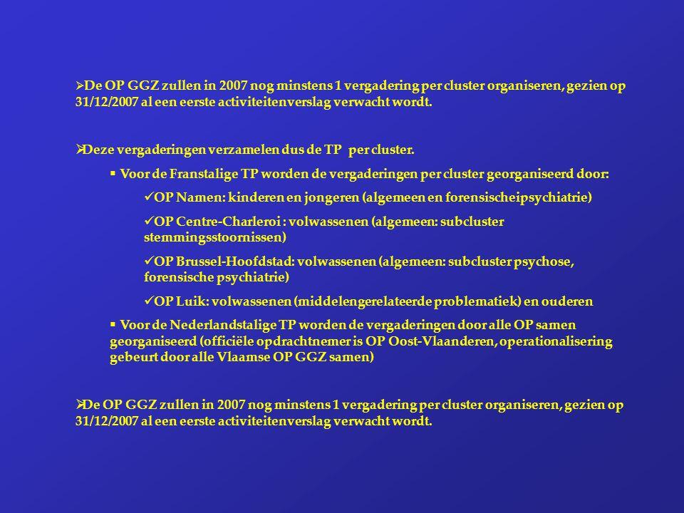  De OP GGZ zullen in 2007 nog minstens 1 vergadering per cluster organiseren, gezien op 31/12/2007 al een eerste activiteitenverslag verwacht wordt.