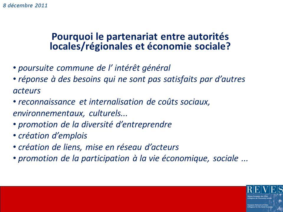 Pourquoi le partenariat entre autorités locales/régionales et économie sociale.