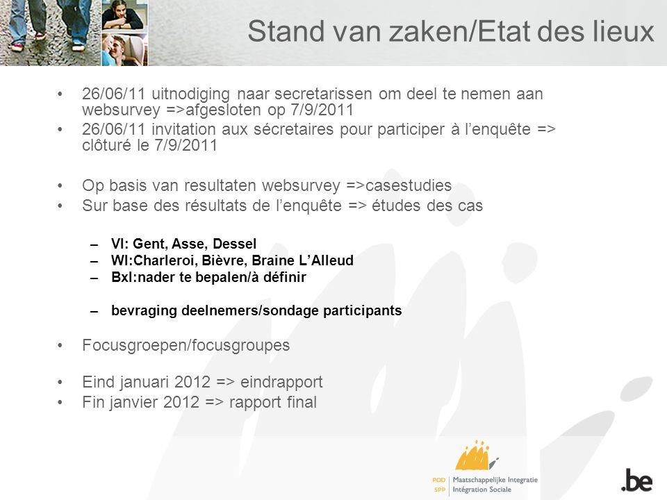 Stand van zaken/Etat des lieux 26/06/11 uitnodiging naar secretarissen om deel te nemen aan websurvey =>afgesloten op 7/9/2011 26/06/11 invitation aux