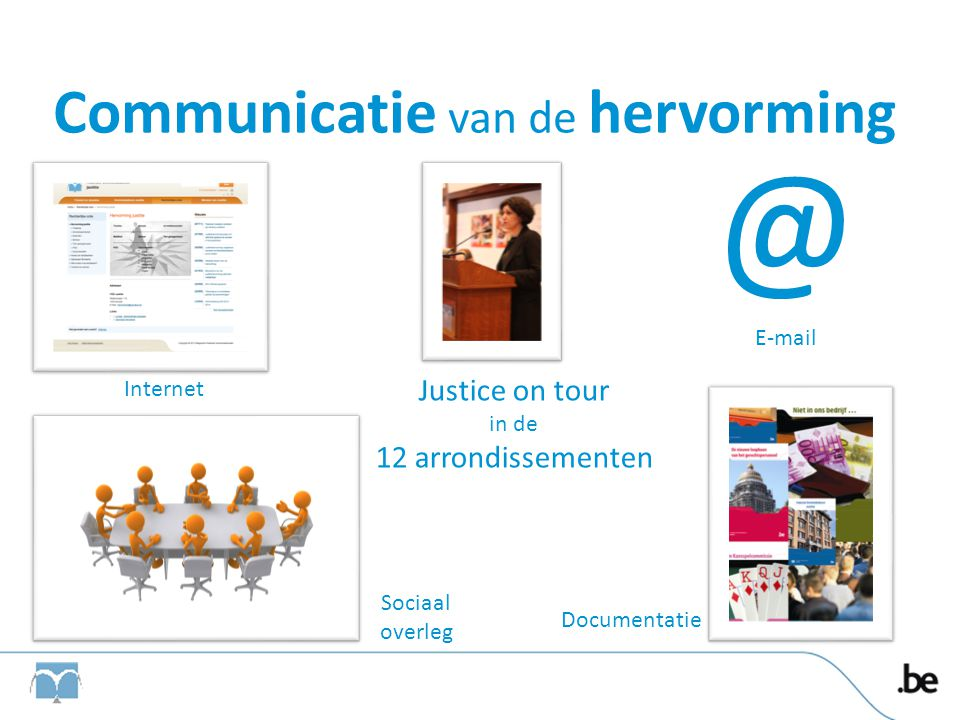 Communicatie van de hervorming Internet @ E-mail Sociaal overleg Justice on tour in de 12 arrondissementen Documentatie