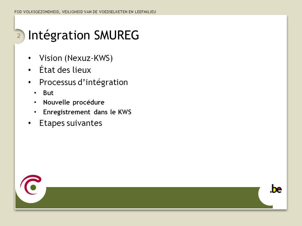 FOD VOLKSGEZONDHEID, VEILIGHEID VAN DE VOEDSELKETEN EN LEEFMILIEU 2 Intégration SMUREG Vision (Nexuz-KWS) État des lieux Processus d'intégration But N