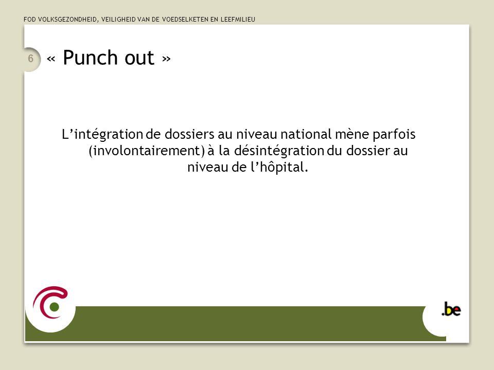 FOD VOLKSGEZONDHEID, VEILIGHEID VAN DE VOEDSELKETEN EN LEEFMILIEU « Punch out » L'intégration de dossiers au niveau national mène parfois (involontair