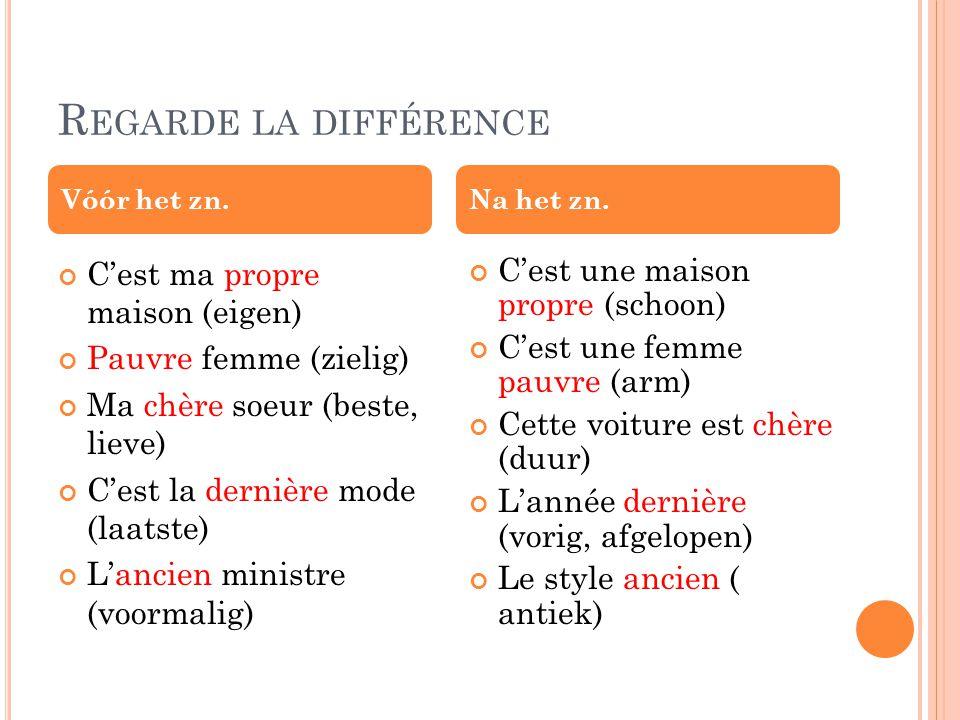 B IJ KLEUREN Bleu clair Vert foncé Een lichte of donkere kleur geef je in het Frans door achter de kleur het woord Clair of foncé te zetten.