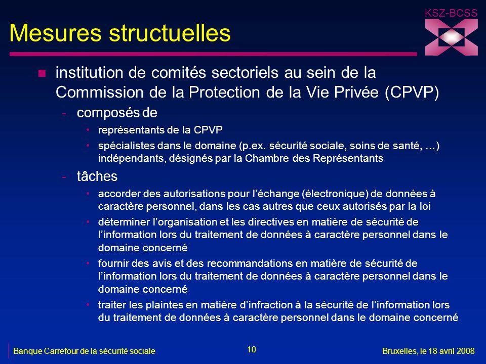 KSZ-BCSS 10 Banque Carrefour de la sécurité socialeBruxelles, le 18 avril 2008 Mesures structuelles n institution de comités sectoriels au sein de la