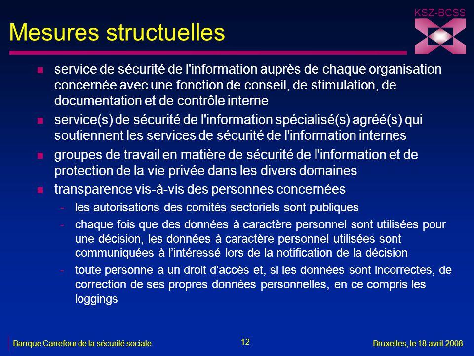 KSZ-BCSS 12 Banque Carrefour de la sécurité socialeBruxelles, le 18 avril 2008 Mesures structuelles n service de sécurité de l'information auprès de c