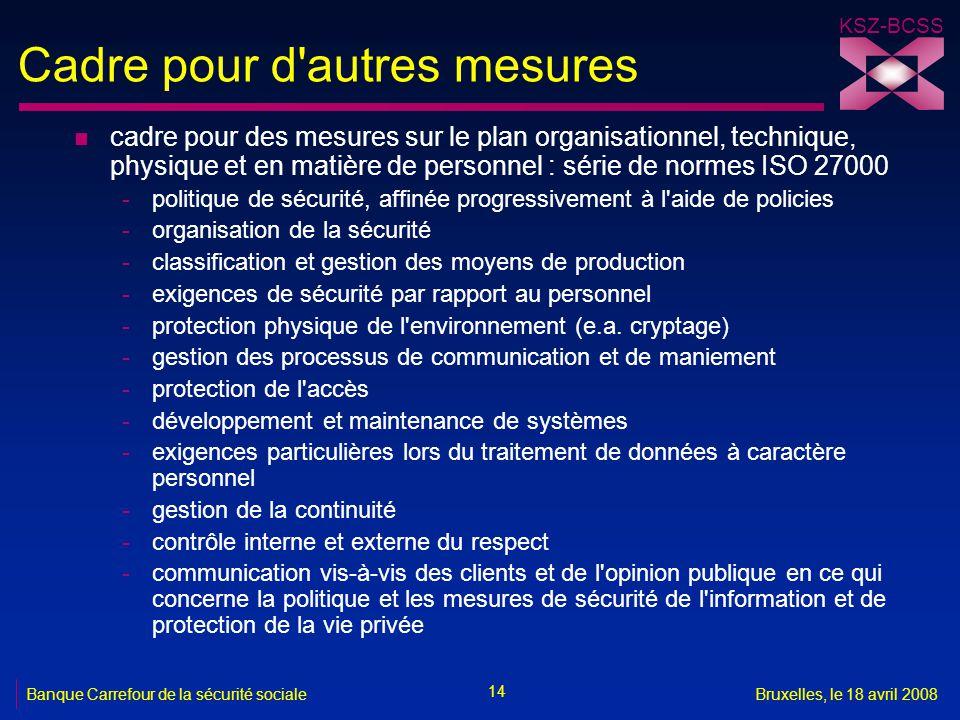KSZ-BCSS 14 Banque Carrefour de la sécurité socialeBruxelles, le 18 avril 2008 Cadre pour d'autres mesures n cadre pour des mesures sur le plan organi