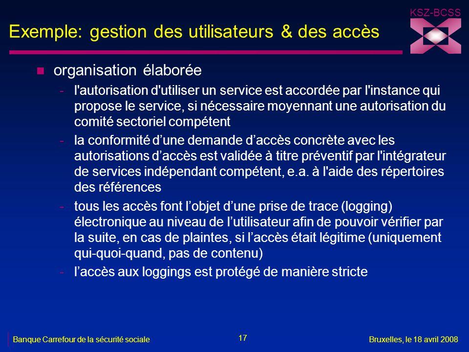 KSZ-BCSS 17 Banque Carrefour de la sécurité socialeBruxelles, le 18 avril 2008 Exemple: gestion des utilisateurs & des accès n organisation élaborée -