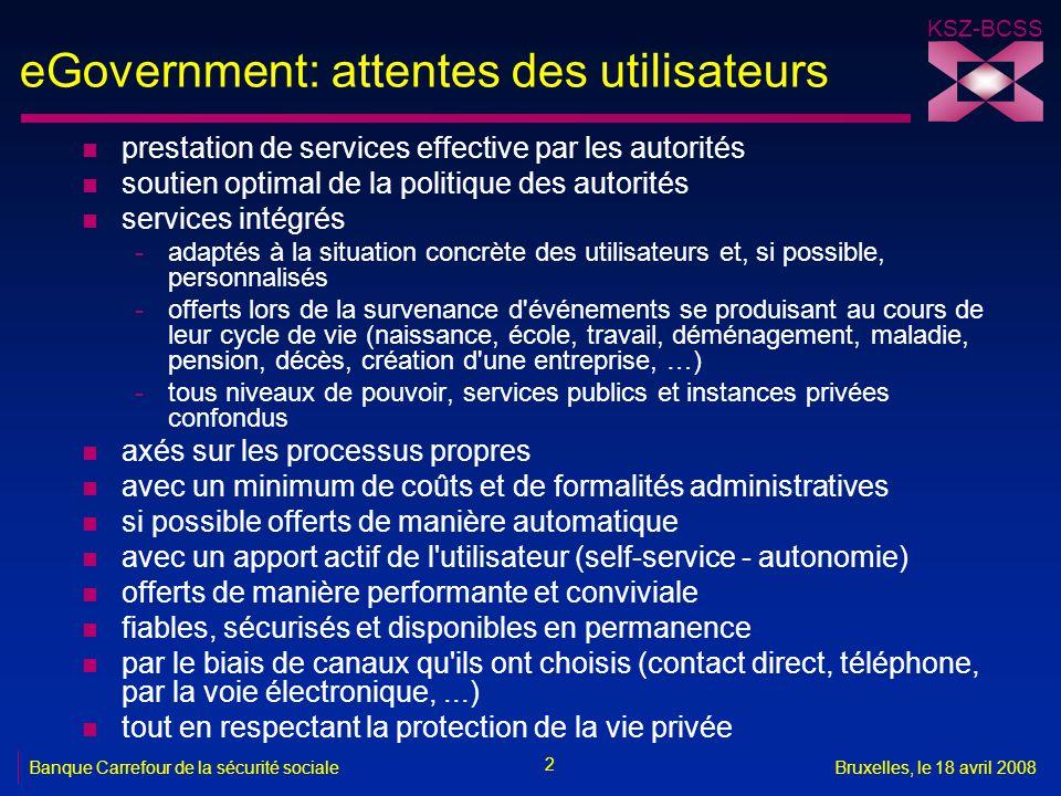 KSZ-BCSS 2 Banque Carrefour de la sécurité socialeBruxelles, le 18 avril 2008 eGovernment: attentes des utilisateurs n prestation de services effectiv