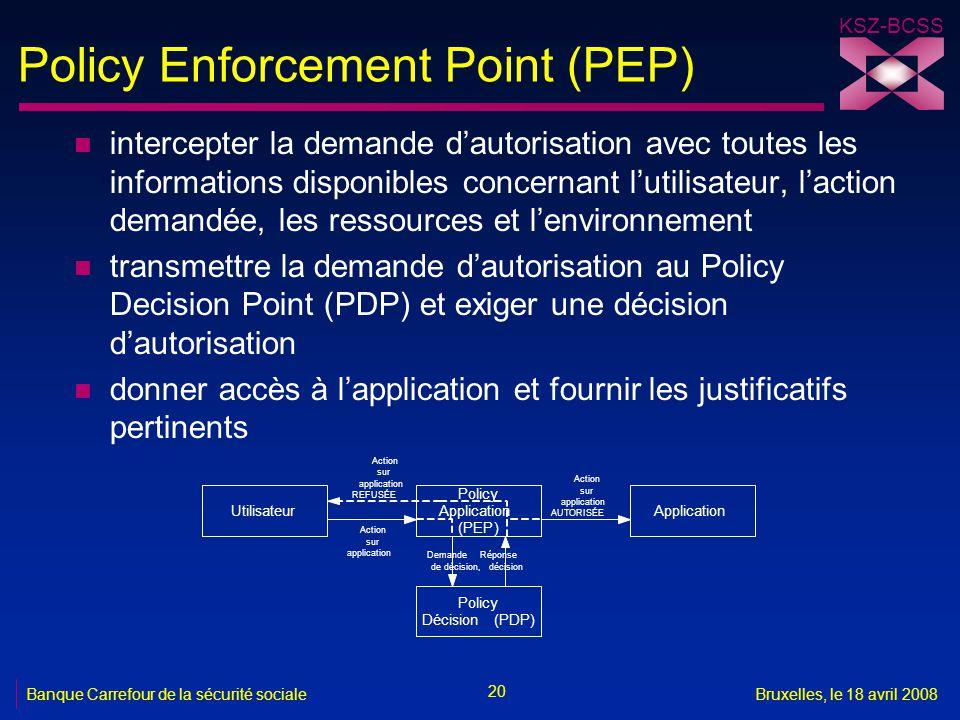 KSZ-BCSS 20 Banque Carrefour de la sécurité socialeBruxelles, le 18 avril 2008 Policy Enforcement Point (PEP) n intercepter la demande d'autorisation