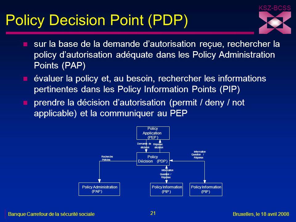 KSZ-BCSS 21 Banque Carrefour de la sécurité socialeBruxelles, le 18 avril 2008 Policy Decision Point (PDP) n sur la base de la demande d'autorisation