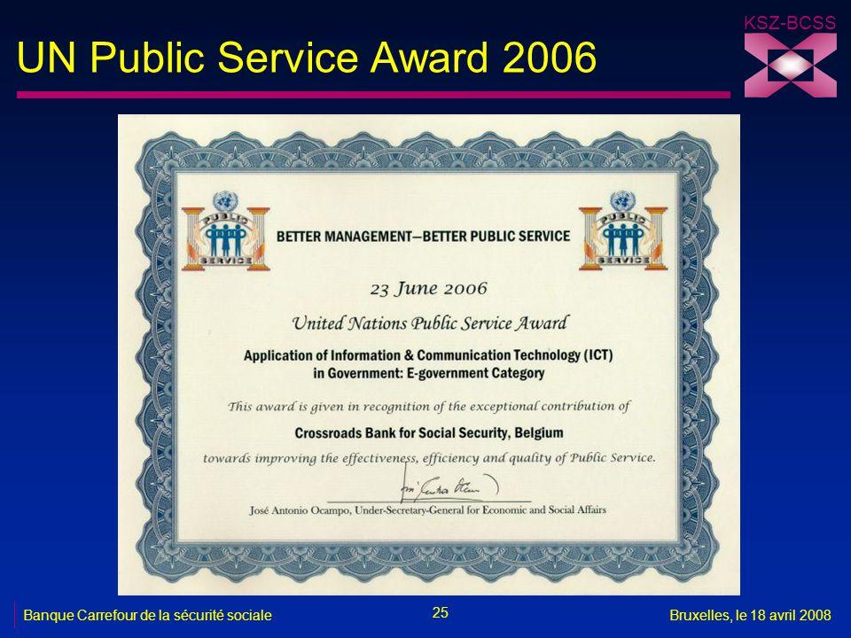 KSZ-BCSS 25 Banque Carrefour de la sécurité socialeBruxelles, le 18 avril 2008 UN Public Service Award 2006