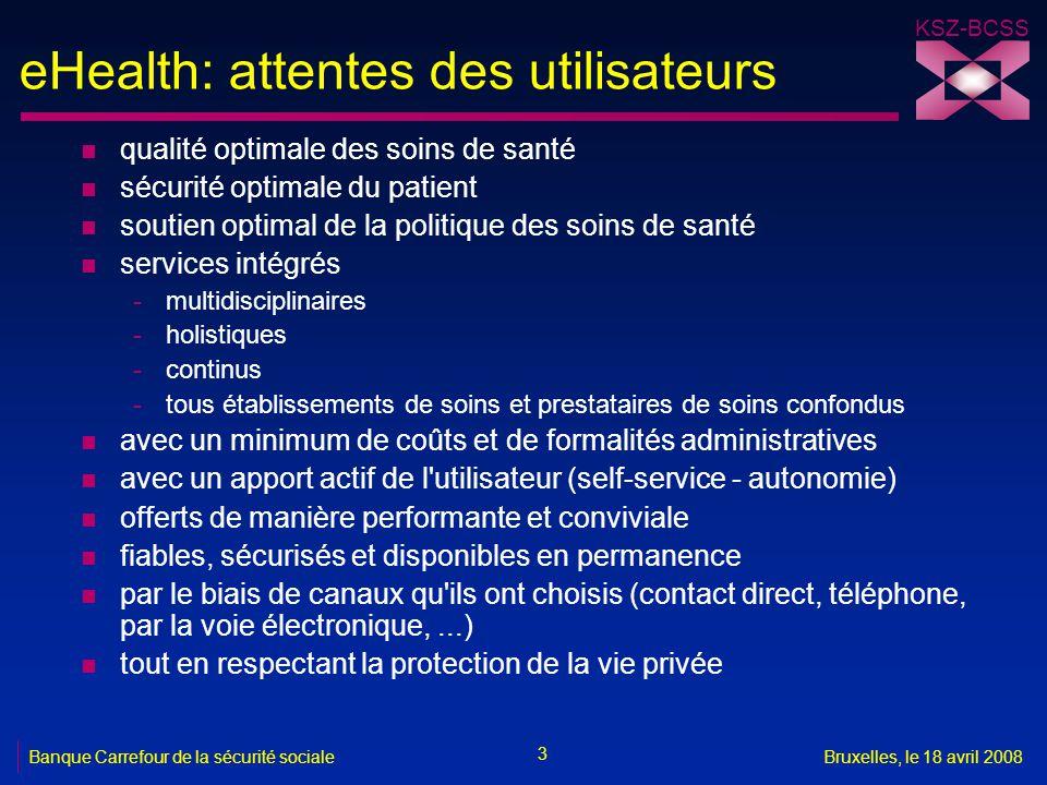 KSZ-BCSS 3 Banque Carrefour de la sécurité socialeBruxelles, le 18 avril 2008 eHealth: attentes des utilisateurs n qualité optimale des soins de santé
