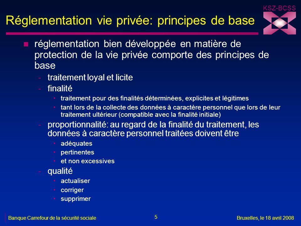 KSZ-BCSS 5 Banque Carrefour de la sécurité socialeBruxelles, le 18 avril 2008 Réglementation vie privée: principes de base n réglementation bien dével