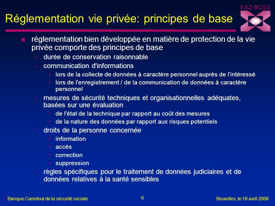 KSZ-BCSS 6 Banque Carrefour de la sécurité socialeBruxelles, le 18 avril 2008 Réglementation vie privée: principes de base n réglementation bien dével