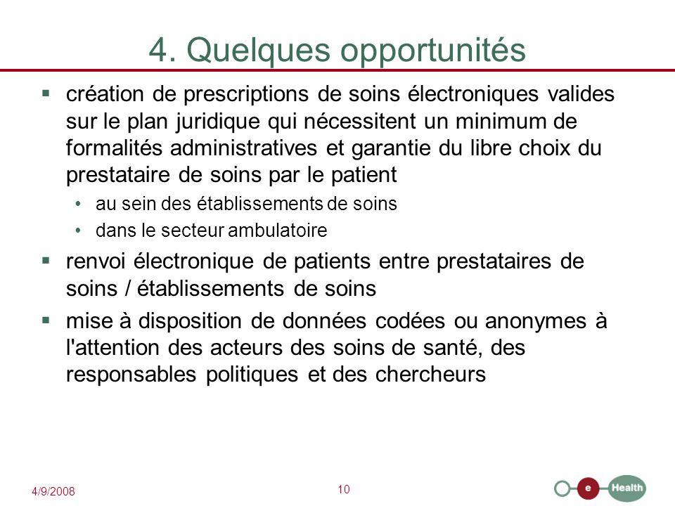 10 4/9/2008 4. Quelques opportunités  création de prescriptions de soins électroniques valides sur le plan juridique qui nécessitent un minimum de fo