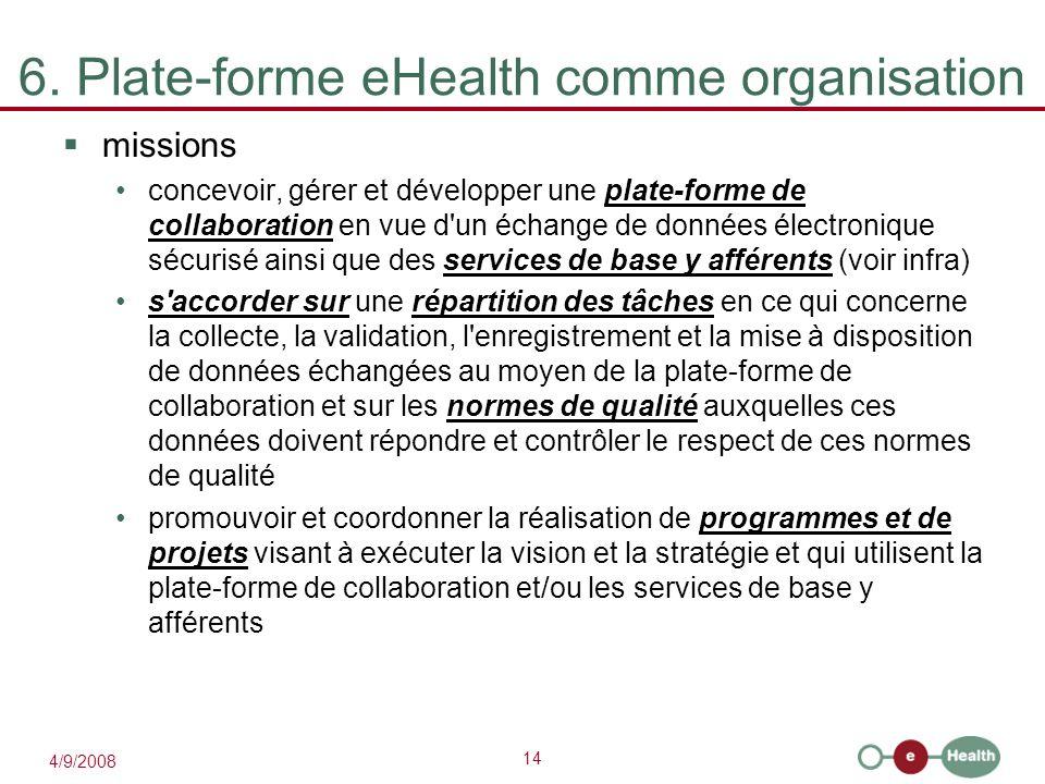 14 4/9/2008 6. Plate-forme eHealth comme organisation  missions concevoir, gérer et développer une plate-forme de collaboration en vue d'un échange d