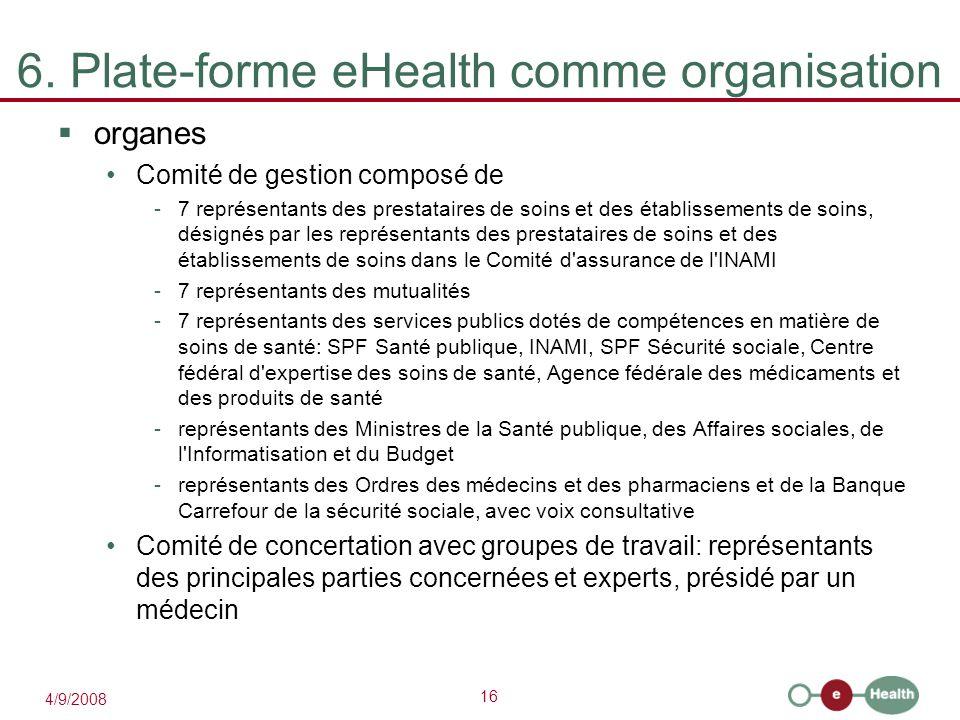16 4/9/2008 6. Plate-forme eHealth comme organisation  organes Comité de gestion composé de -7 représentants des prestataires de soins et des établis