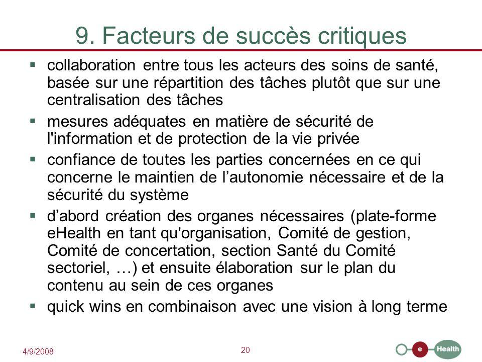 20 4/9/2008 9. Facteurs de succès critiques  collaboration entre tous les acteurs des soins de santé, basée sur une répartition des tâches plutôt que