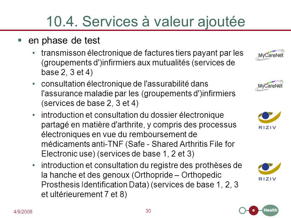 30 4/9/2008 10.4. Services à valeur ajoutée  en phase de test transmisson électronique de factures tiers payant par les (groupements d')infirmiers au