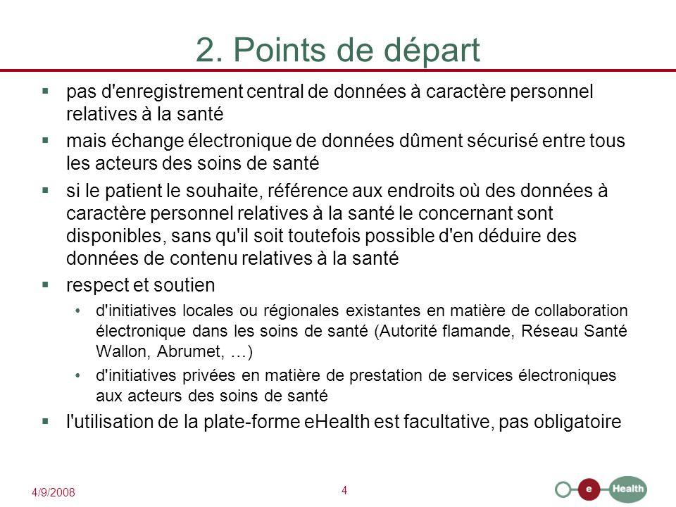 4 4/9/2008 2. Points de départ  pas d'enregistrement central de données à caractère personnel relatives à la santé  mais échange électronique de don