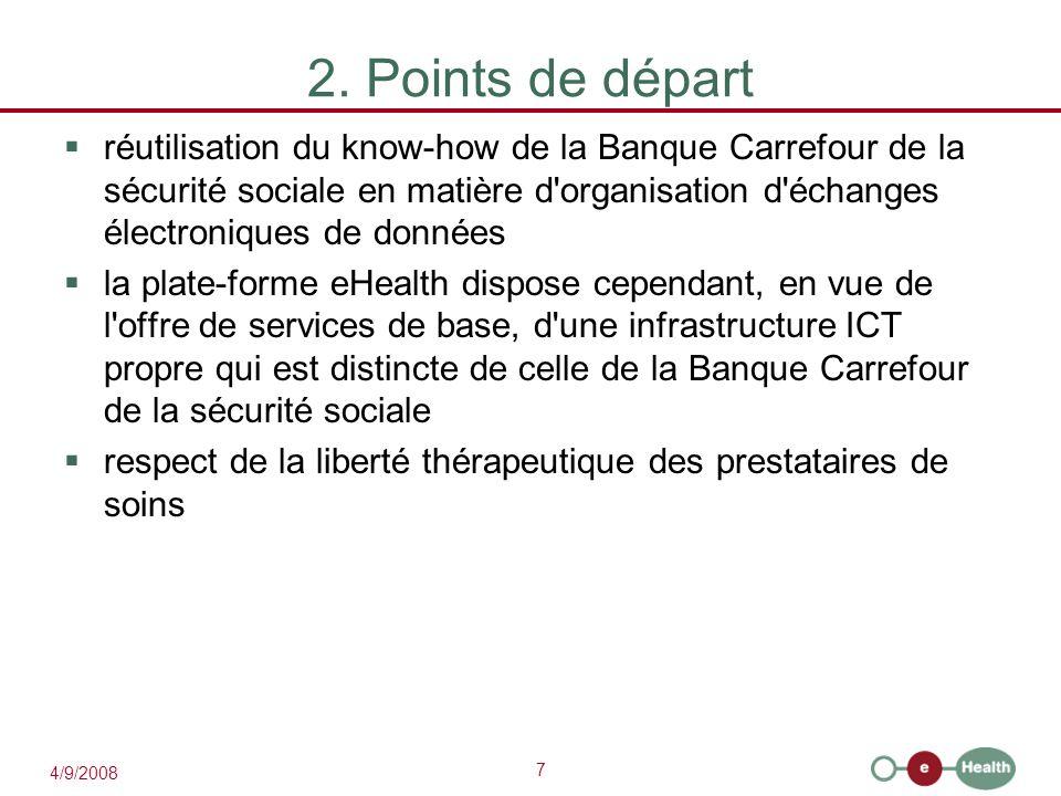 7 4/9/2008 2. Points de départ  réutilisation du know-how de la Banque Carrefour de la sécurité sociale en matière d'organisation d'échanges électron