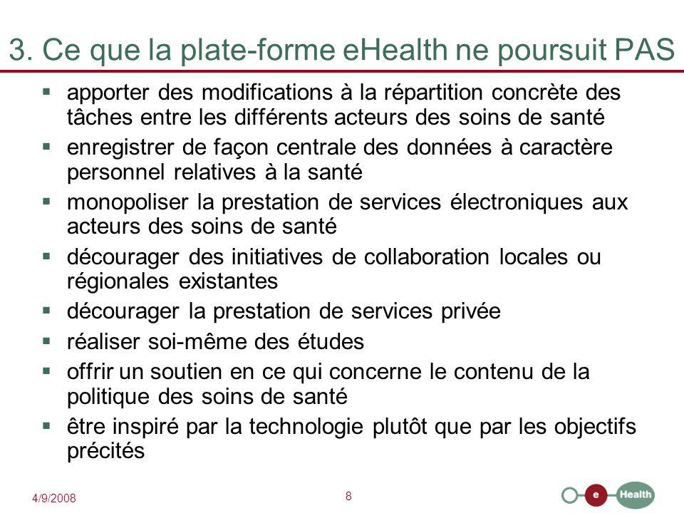 8 4/9/2008 3. Ce que la plate-forme eHealth ne poursuit PAS  apporter des modifications à la répartition concrète des tâches entre les différents act