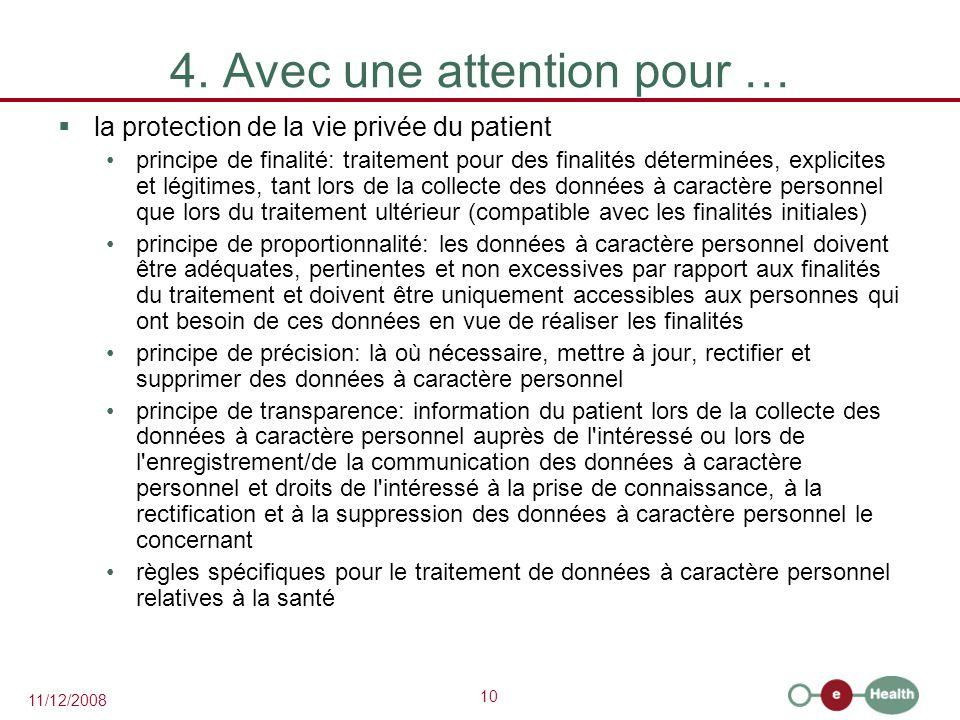 10 11/12/2008 4. Avec une attention pour …  la protection de la vie privée du patient principe de finalité: traitement pour des finalités déterminées