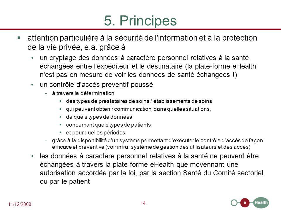 14 11/12/2008 5. Principes  attention particulière à la sécurité de l'information et à la protection de la vie privée, e.a. grâce à un cryptage des d
