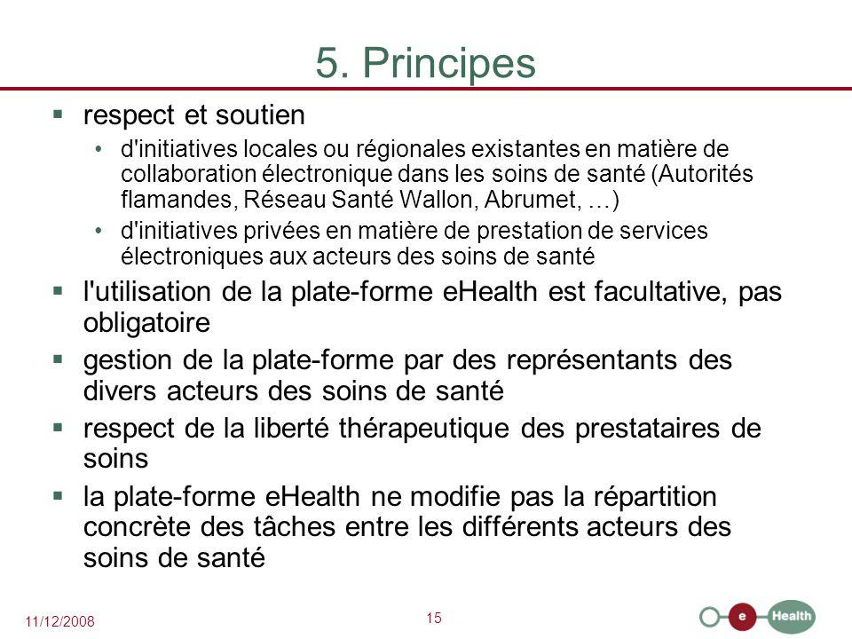 15 11/12/2008 5. Principes  respect et soutien d'initiatives locales ou régionales existantes en matière de collaboration électronique dans les soins