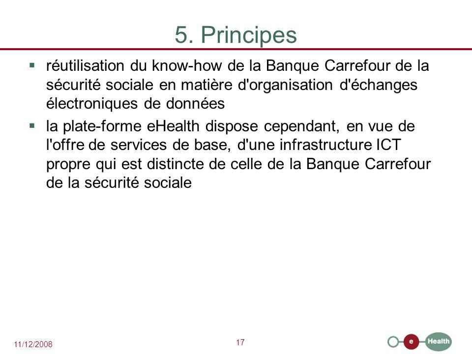 17 11/12/2008 5. Principes  réutilisation du know-how de la Banque Carrefour de la sécurité sociale en matière d'organisation d'échanges électronique
