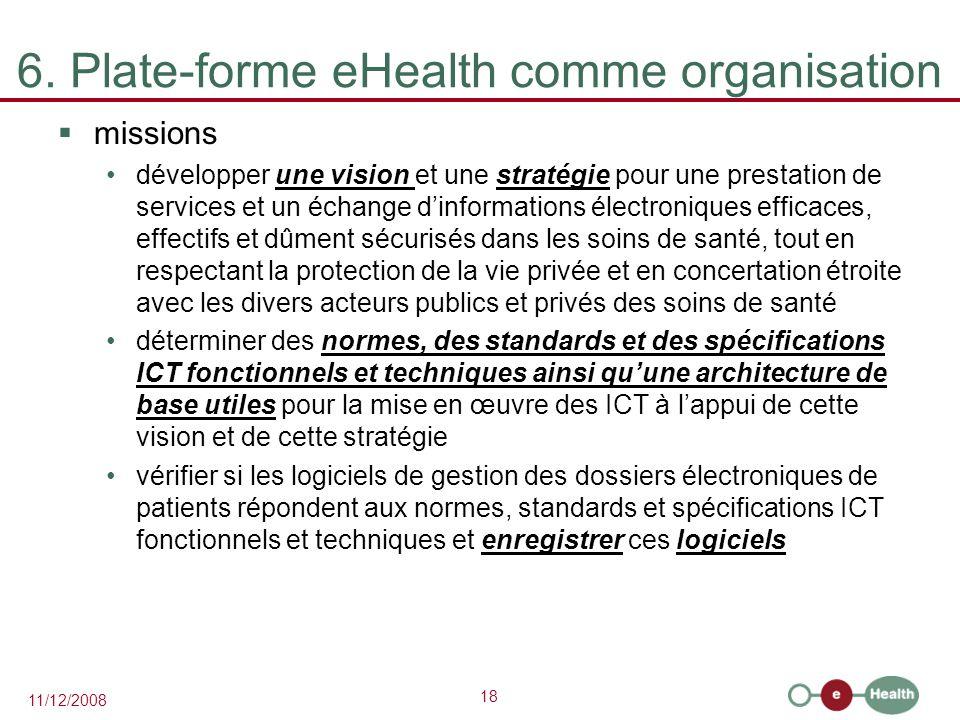 18 11/12/2008 6. Plate-forme eHealth comme organisation  missions développer une vision et une stratégie pour une prestation de services et un échang