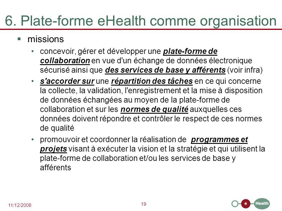 19 11/12/2008 6. Plate-forme eHealth comme organisation  missions concevoir, gérer et développer une plate-forme de collaboration en vue d'un échange
