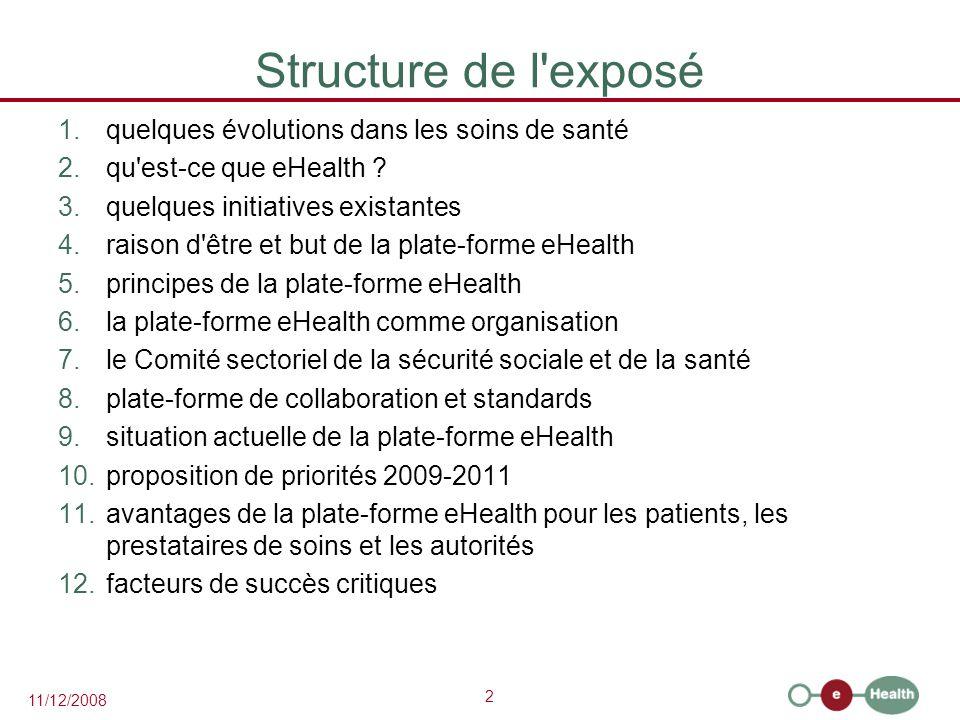 2 11/12/2008 Structure de l'exposé 1.quelques évolutions dans les soins de santé 2.qu'est-ce que eHealth ? 3.quelques initiatives existantes 4.raison