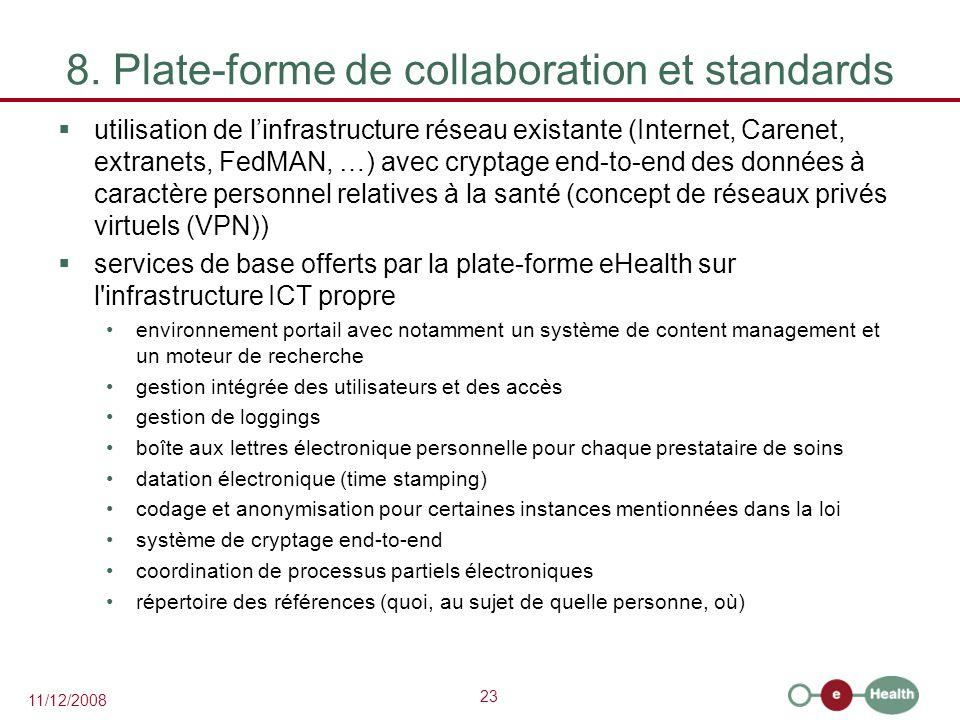 23 11/12/2008 8. Plate-forme de collaboration et standards  utilisation de l'infrastructure réseau existante (Internet, Carenet, extranets, FedMAN, …