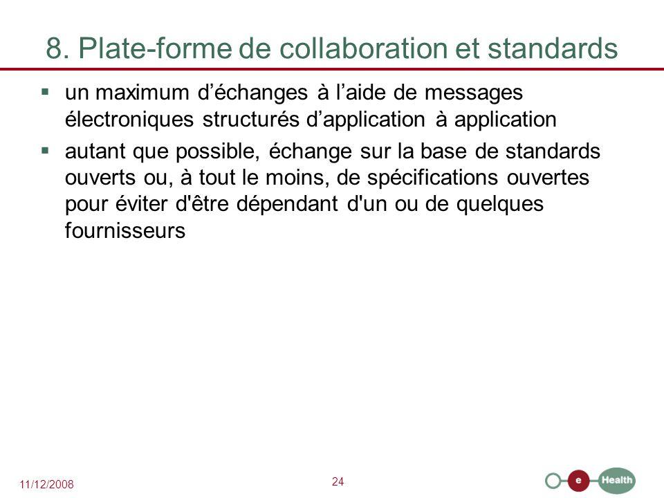 24 11/12/2008 8. Plate-forme de collaboration et standards  un maximum d'échanges à l'aide de messages électroniques structurés d'application à appli