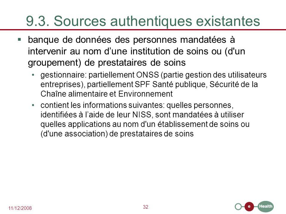 32 11/12/2008 9.3. Sources authentiques existantes  banque de données des personnes mandatées à intervenir au nom d'une institution de soins ou (d'un