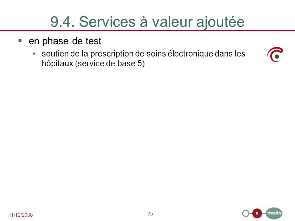 35 11/12/2008 9.4. Services à valeur ajoutée  en phase de test soutien de la prescription de soins électronique dans les hôpitaux (service de base 5)