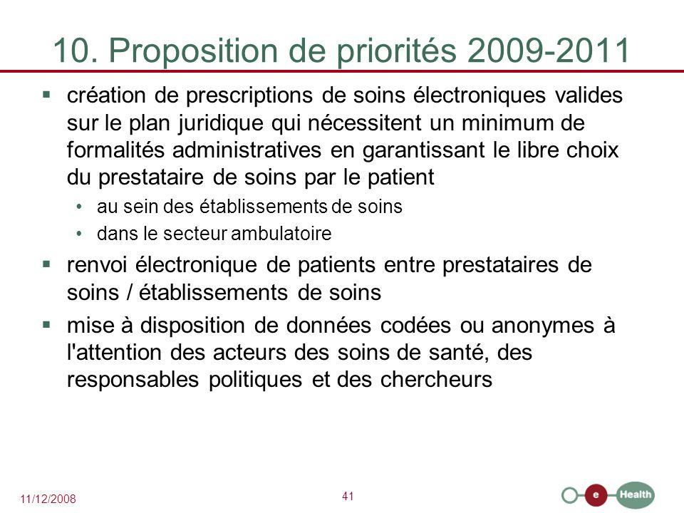 41 11/12/2008 10. Proposition de priorités 2009-2011  création de prescriptions de soins électroniques valides sur le plan juridique qui nécessitent