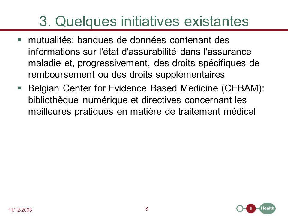 8 11/12/2008 3. Quelques initiatives existantes  mutualités: banques de données contenant des informations sur l'état d'assurabilité dans l'assurance