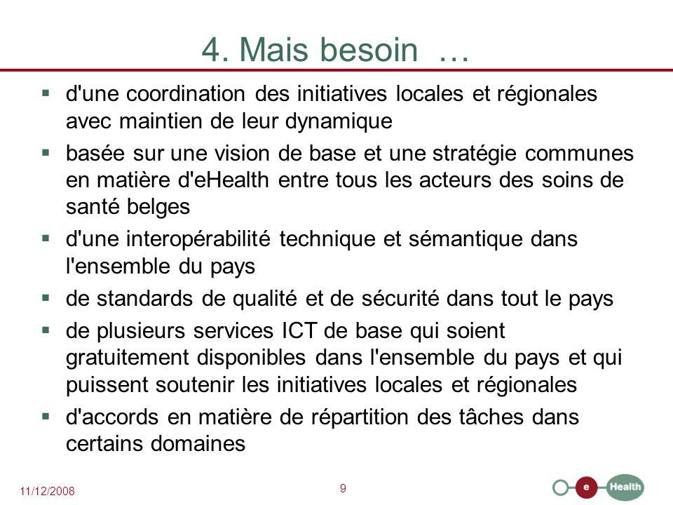 9 11/12/2008 4. Mais besoin …  d'une coordination des initiatives locales et régionales avec maintien de leur dynamique  basée sur une vision de bas